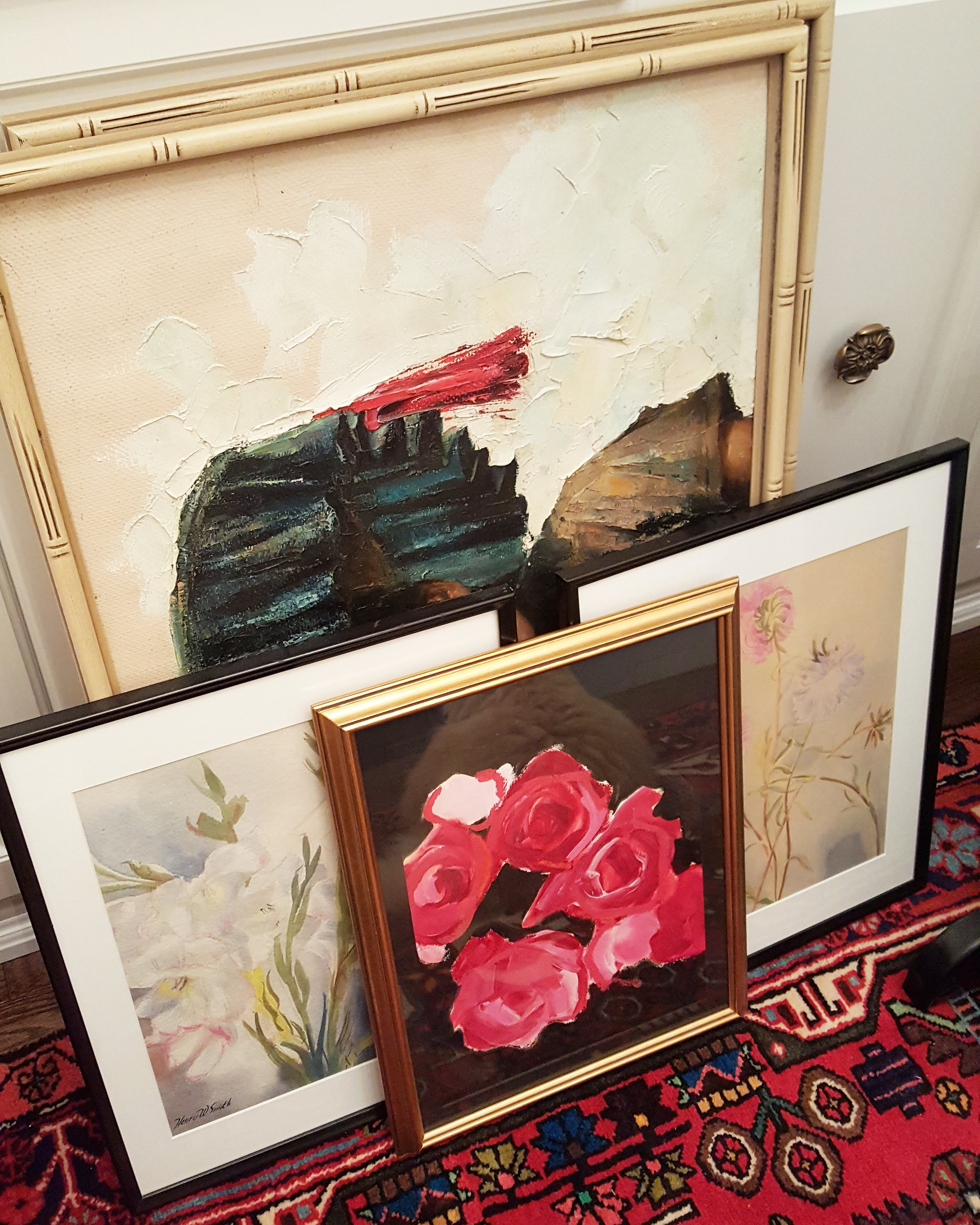 antique & thrift store art with a beautiful painting by lynne millar front & centre