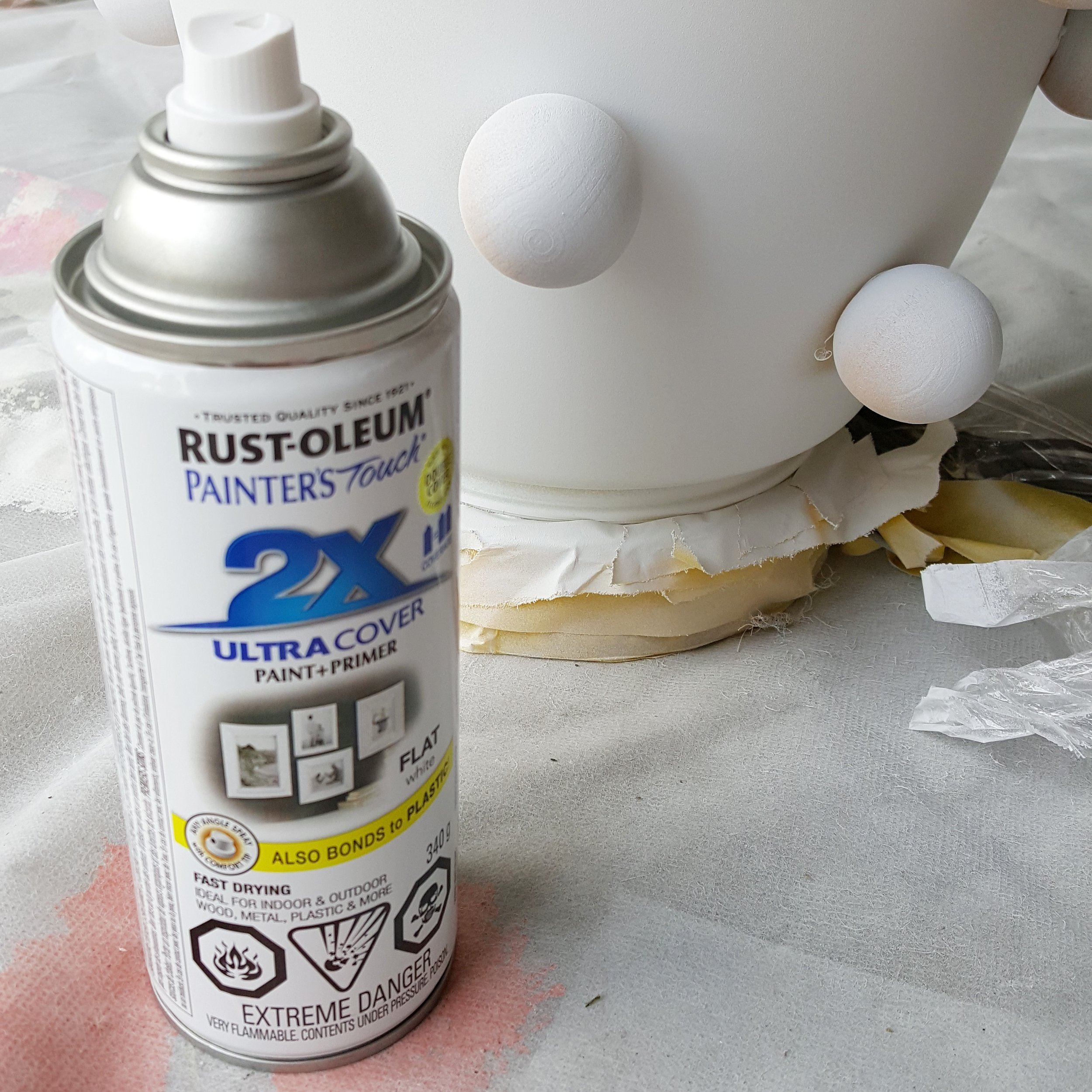 Step 5: Apply a few light coats of flat white spray paint in a well ventilated area.