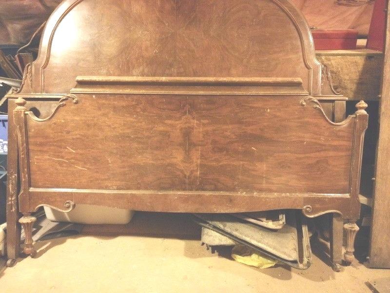 Antique burled walnut bed