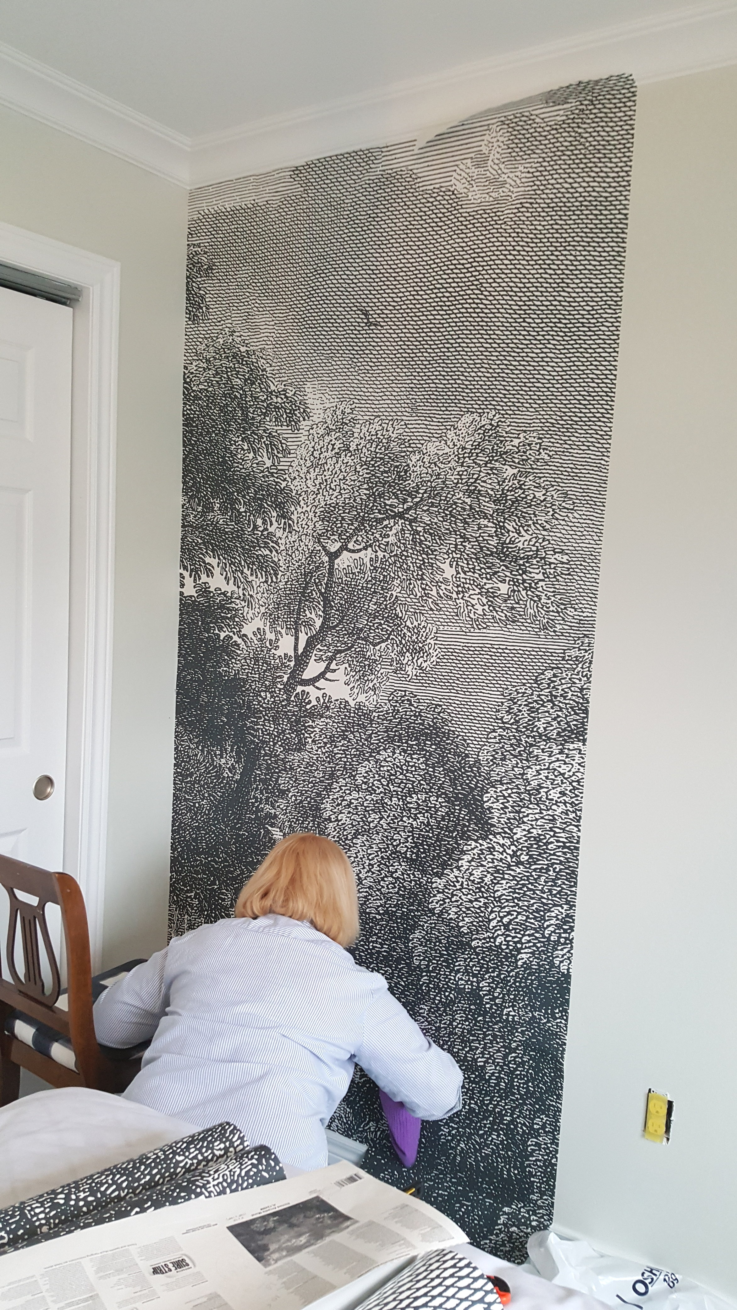 My Mom Susan smoothing out any air bubbles