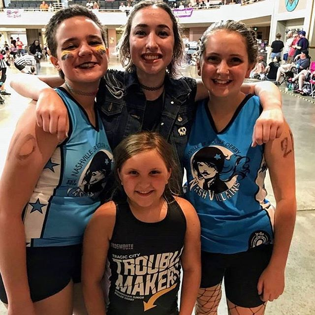 Queen B, Ridin Derby, Bad Blood, and Tempest 💜💙 one thing we love about derby is the friendships that form from sharing a track and respecting the unique skill each skater brings . . . #tctroublemakers #bhamrollerderby #jrrollerderby #bhamjrrollerderby #dowork #tcrbham #grlpwr #girlswhoskate