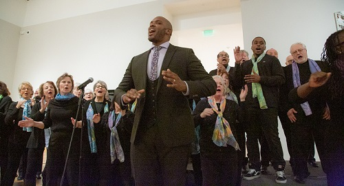Tenor Dominique Wooten, front center, with the Mill City Singers.  Photo by Ric Rosow