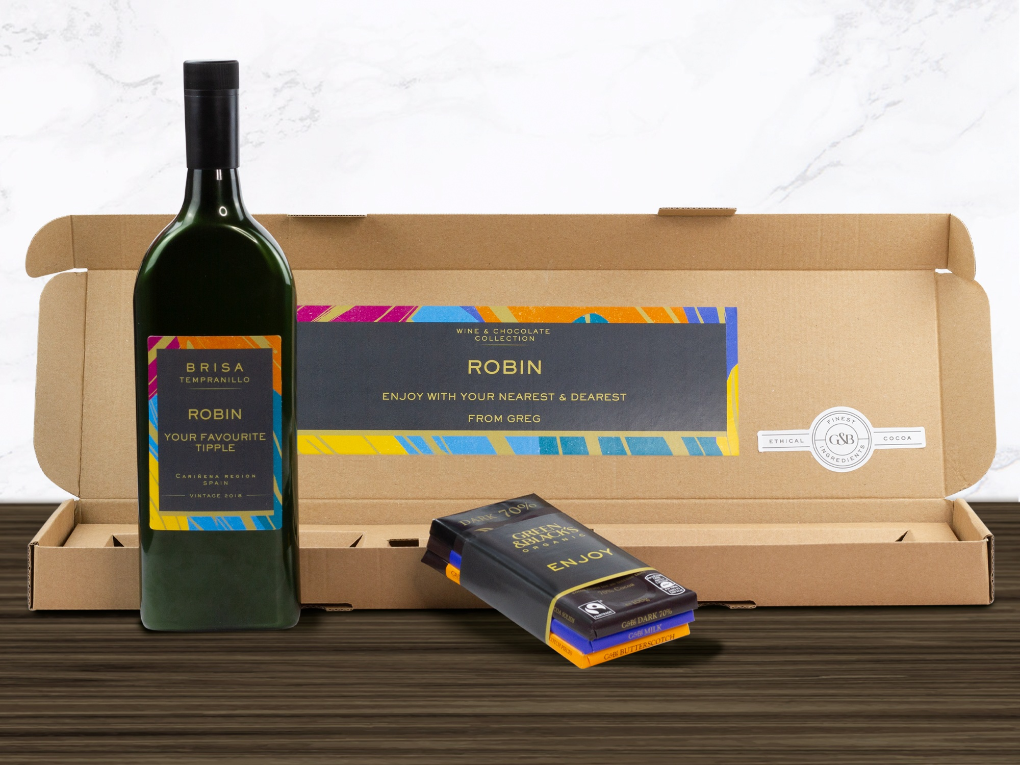NEW: Wine & Chocolate Collection - Personalised indulgence gifting with Tempranillo Letterbox Wine® and a tantalising trio of Green & Black's Organic luxury chocolate bars.