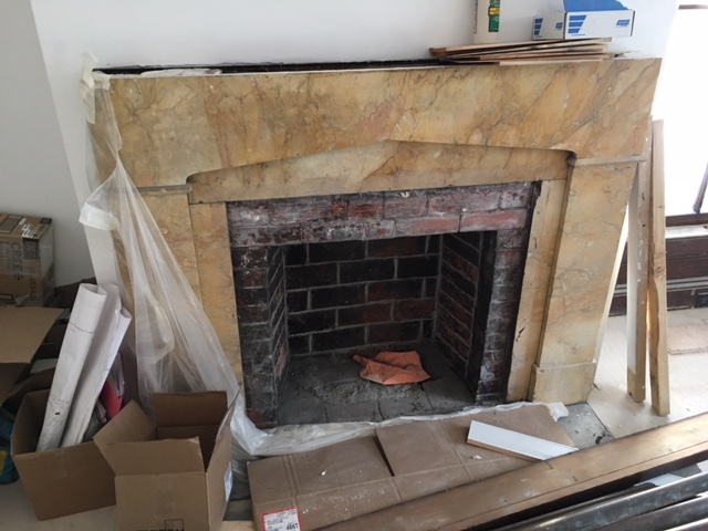 Pickering House Inn yellow marble fireplace