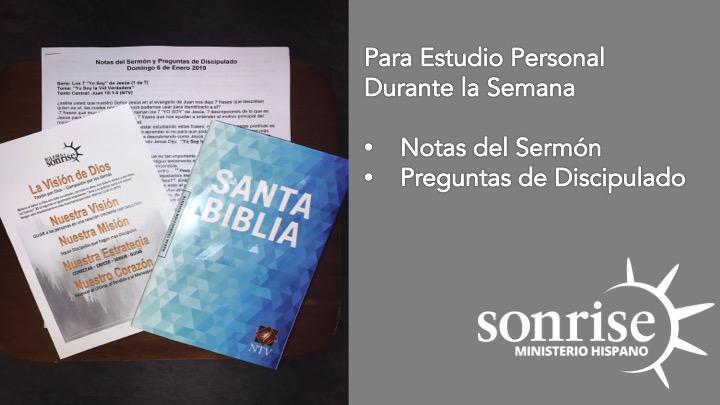 Notas del Sermon - No te olvides de llevarte las notas del sermon y preguntas de discipulado para tu estudio personal. (*solo cuando hay predicaciones en serie*)