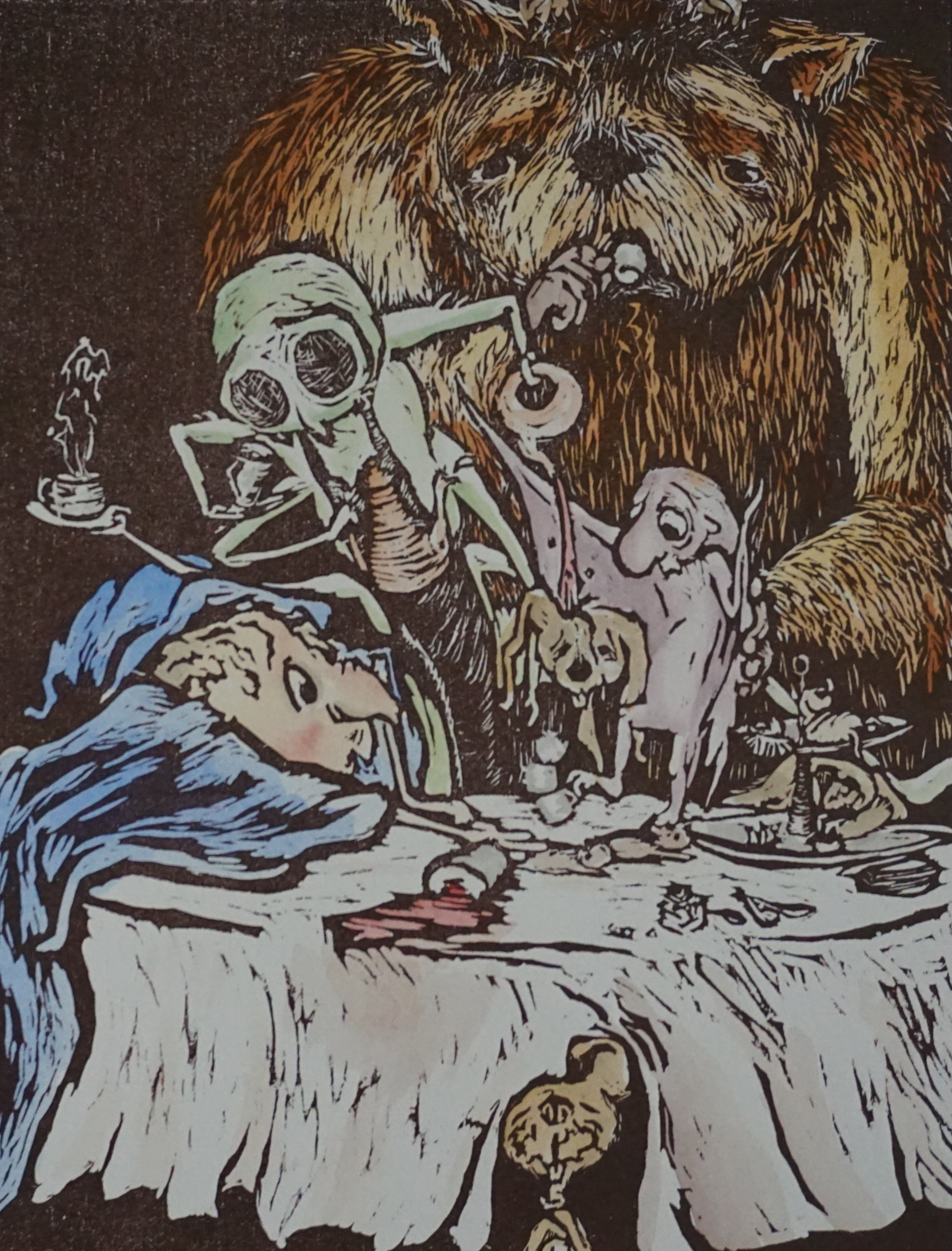 """Tea Party"". Woodblock print and watercolor. 2015"