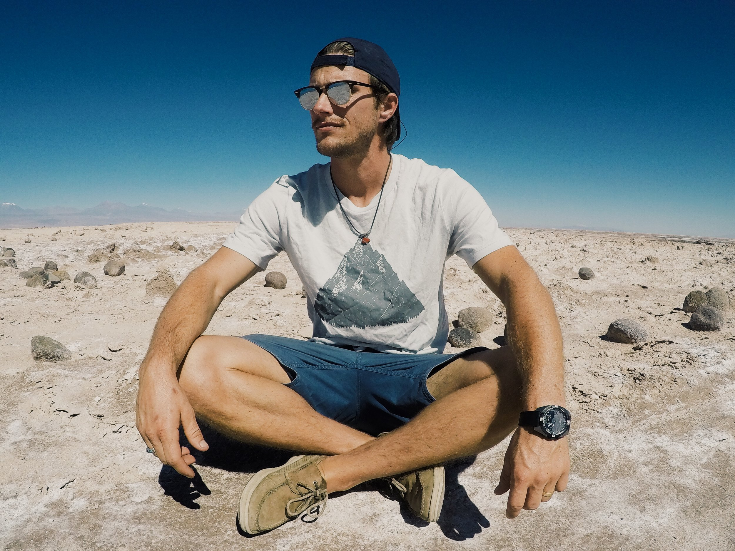 Trevor chillin in the salt flats of the Atacama wearing  Moore Collection .