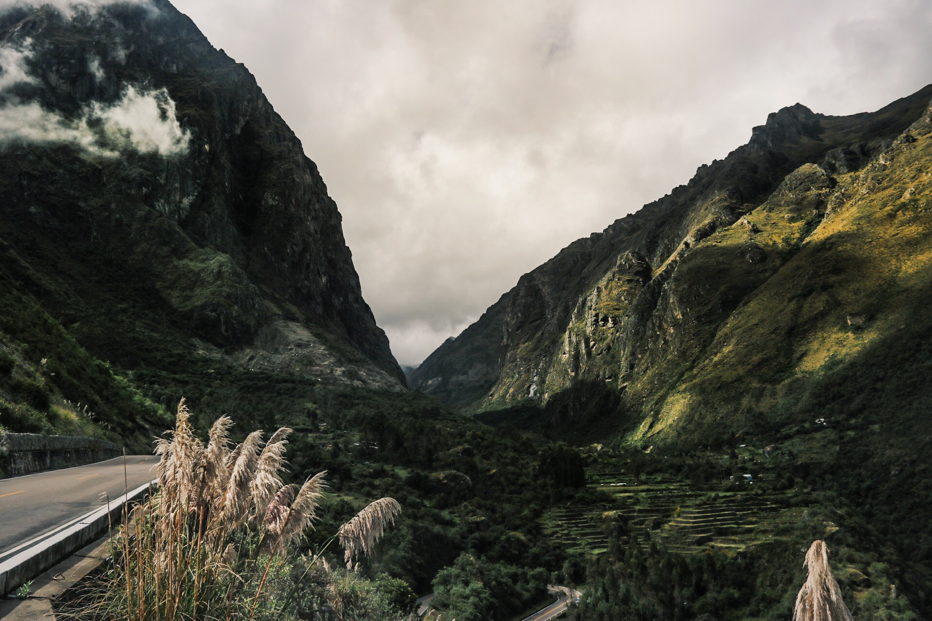 Looking back at the road through the Sacred Valley