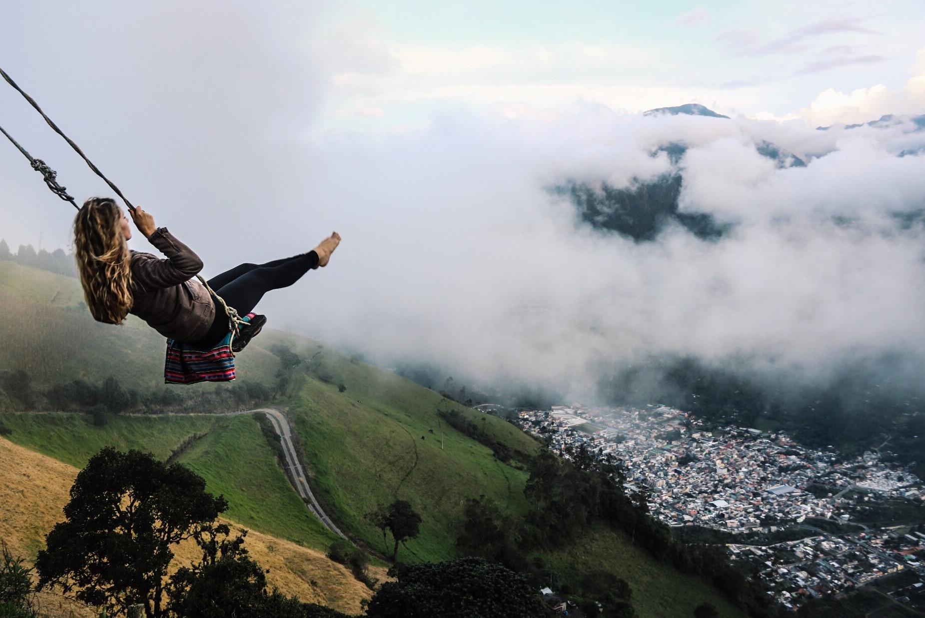 Swinging over Banos, Ecuador