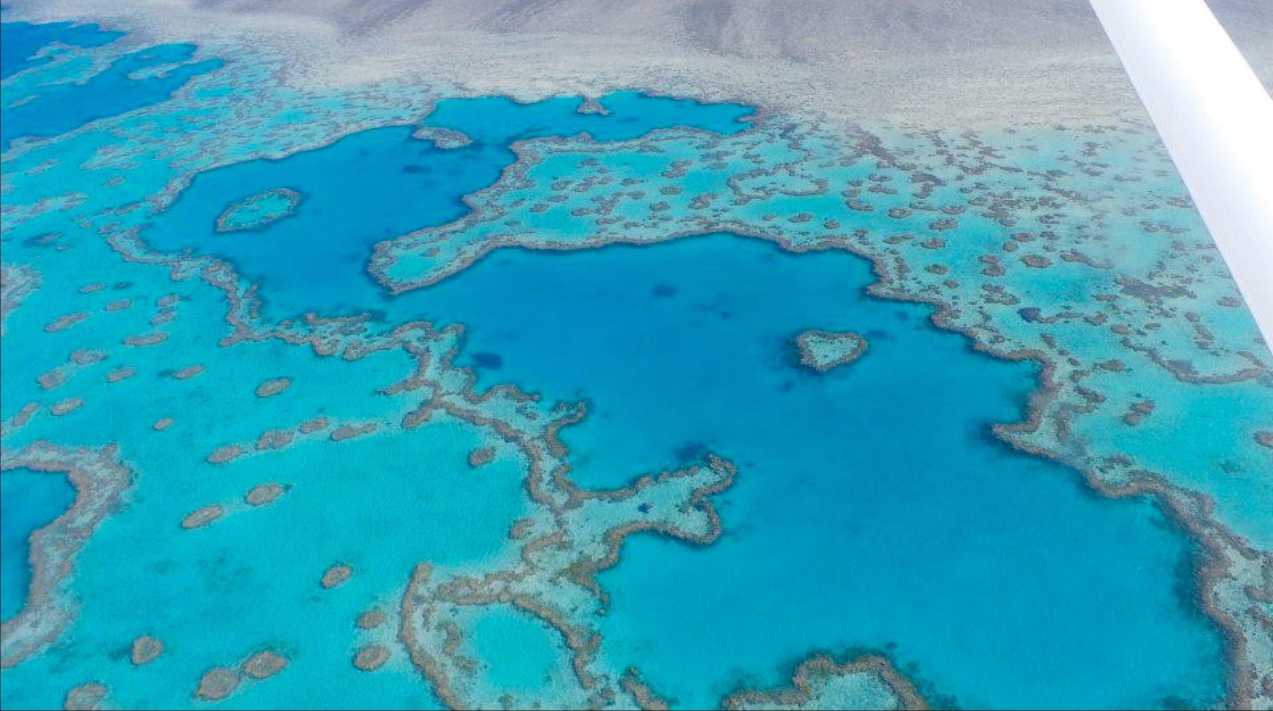 Flying over Heart Reef