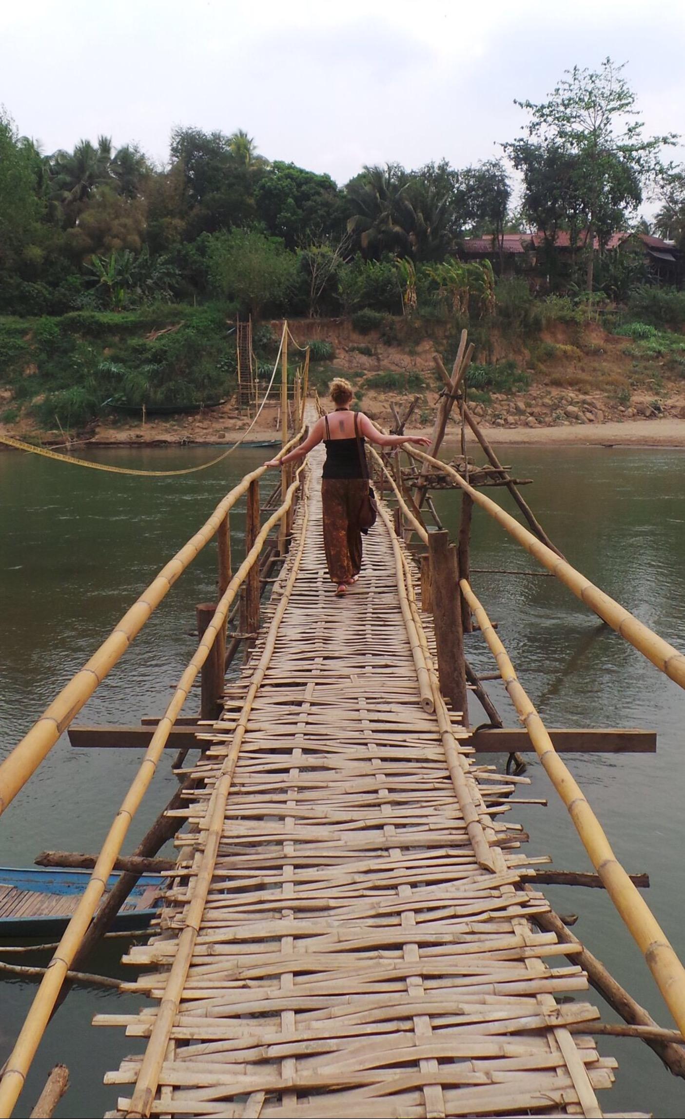 Bamboo bridge to Dyen Sabai Restaurant and Bar