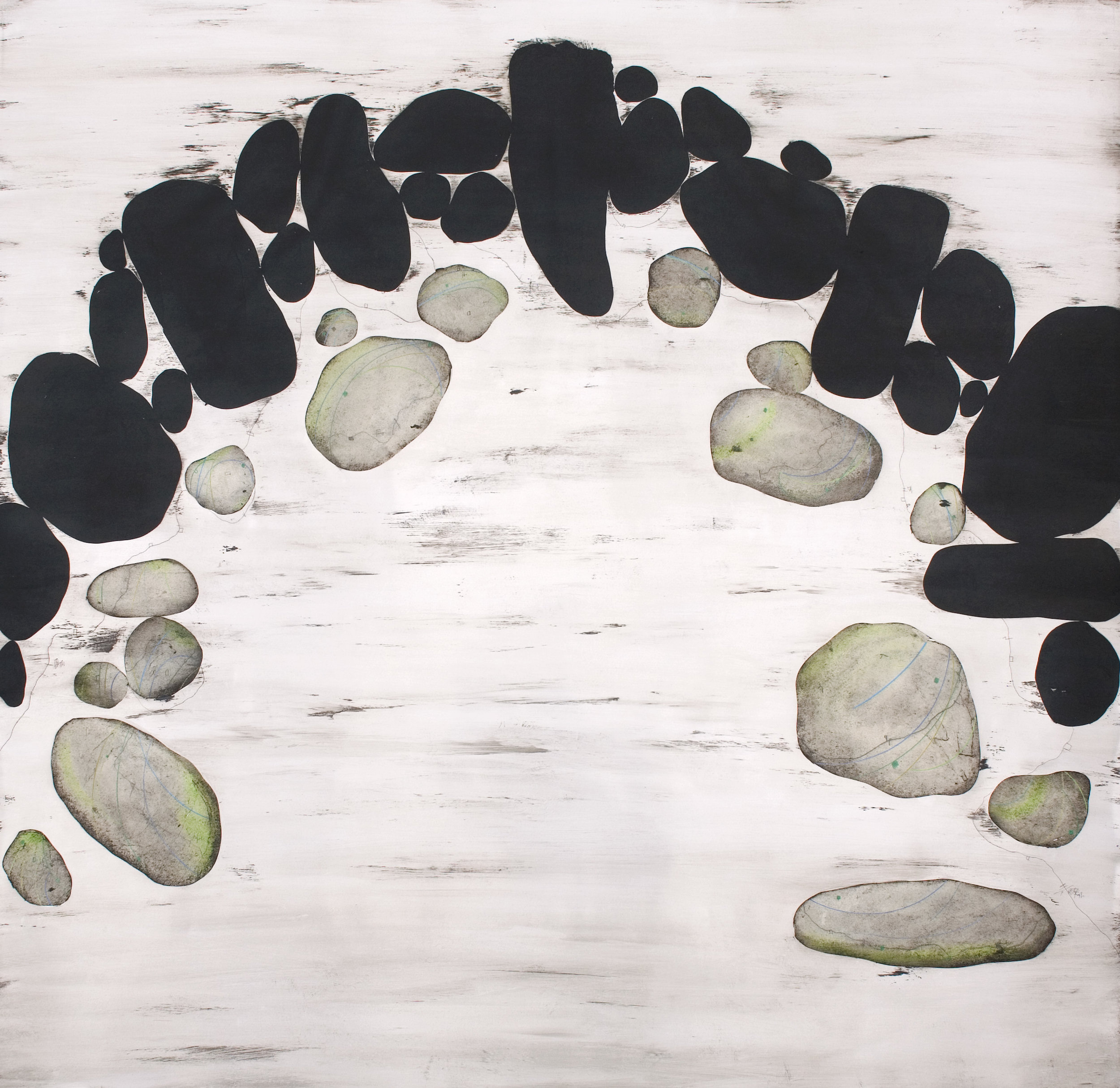 """The soul of stones nº 4"" . enamel and crayons on paper - 150 x150 cm - Manu vb tintoré"
