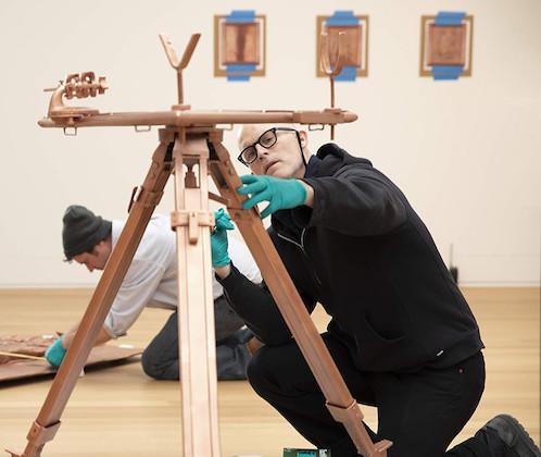 Matthew Barney working on the Redoubt Exhibit
