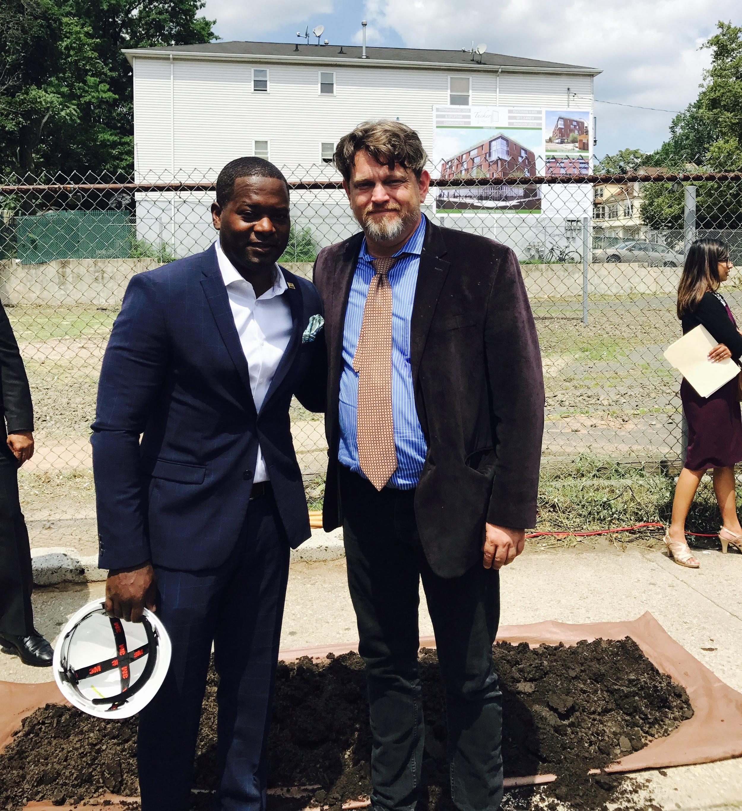 Newark native and developer, Kiburi Tucker and C+C Architecture Principal, Frederick Cooke.