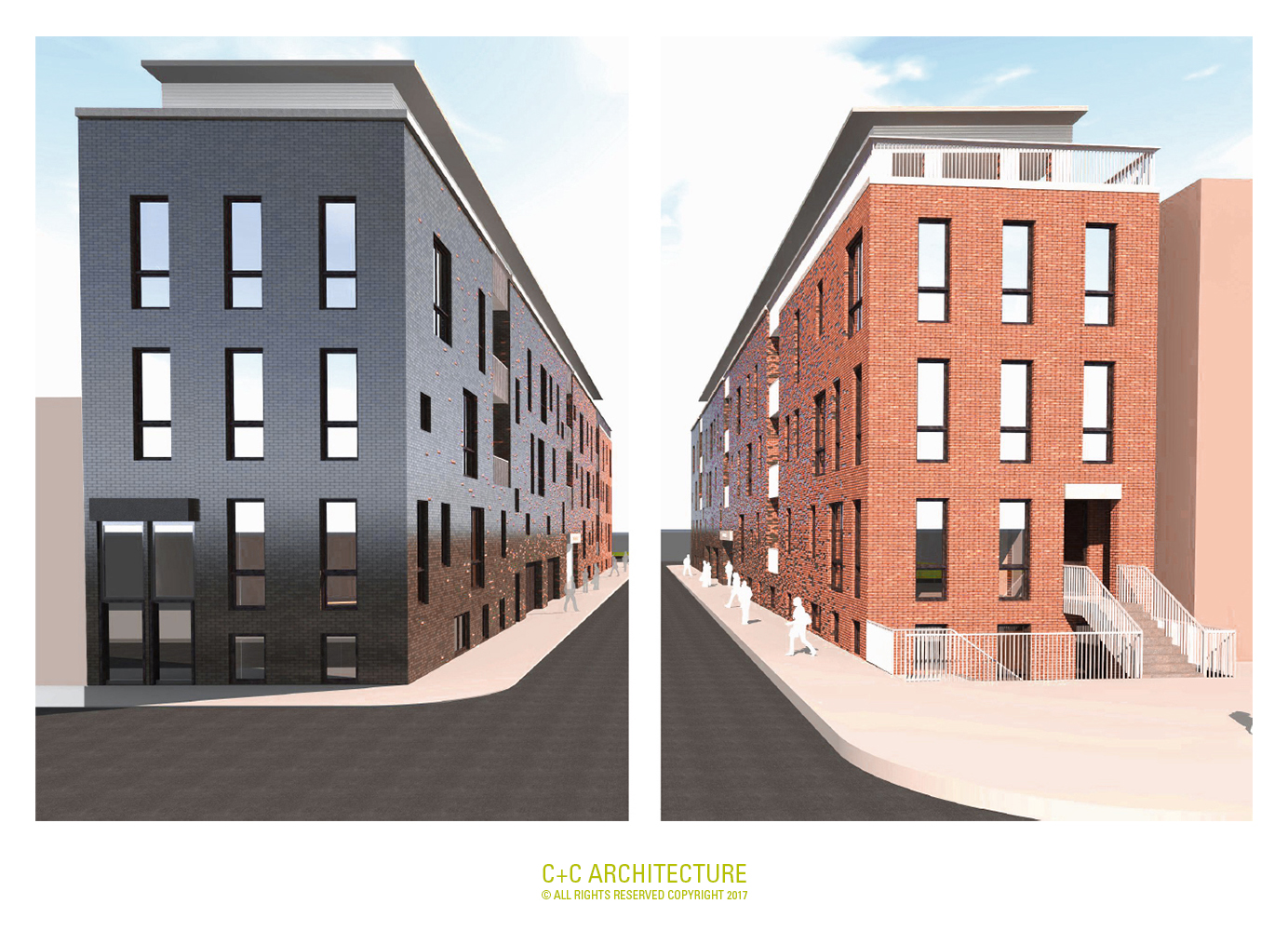 LEFT: Beecher Street Façade within the Lincoln Park Redevelopment Plan. RIGHT: Lincoln Park façade within the Lincoln Park Historic District.