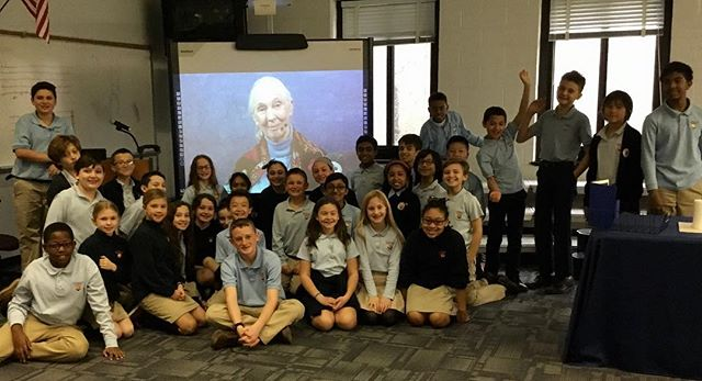 Jane Goodall inspires the next generation of conservationists via Skype in the classroom. @janegoodallinst #skypeintheclassroom #thebridgesacademy