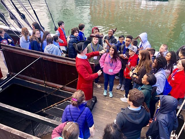 Here to spill the tea 🚢 ☕️ #bostonteaparty #historyinaction #bostonharbor #thebridgesacademy