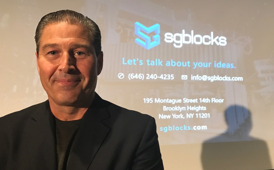 Paul Galvin delivered the 2017 Madden Lecture at Le Moyne College. Galvin is the CEO and founder of SG Blocks, a publicly traded company that repurposes maritime-grade steel shipping containers into buildings blocks for use in commercial, industrial and residential construction. (Stan Linhorst)