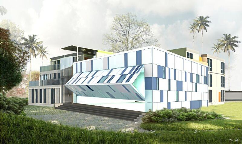 A rendering of the 23,715 square-foot three-story community performing arts and enrichment Center that SG Blocks is constructing in Houston from recycled steel shipping containers.