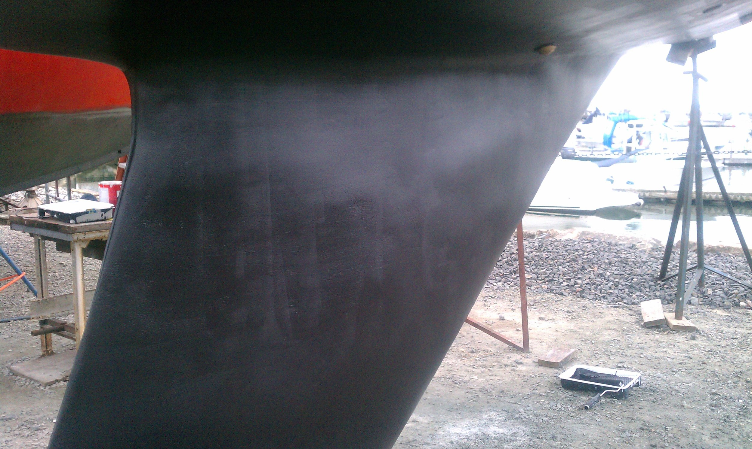Keel repaired and finished with ablative anti-fouling paint