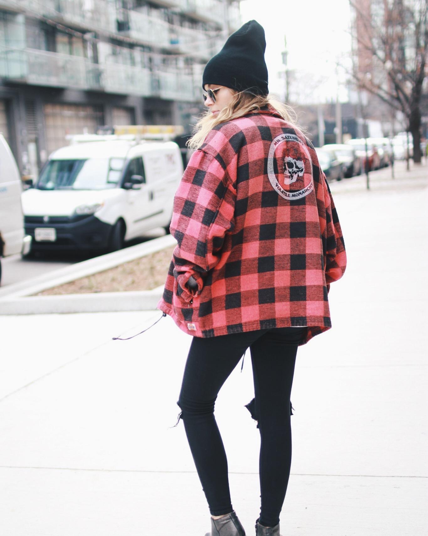 Coat: Mr. Saturday, Sweatshirt: Boohoo, Undershirt: Glad Rags, Pants: TopShop, Boots: Aldo, Hat: Raising the Roof, Sunglasses: RayBan