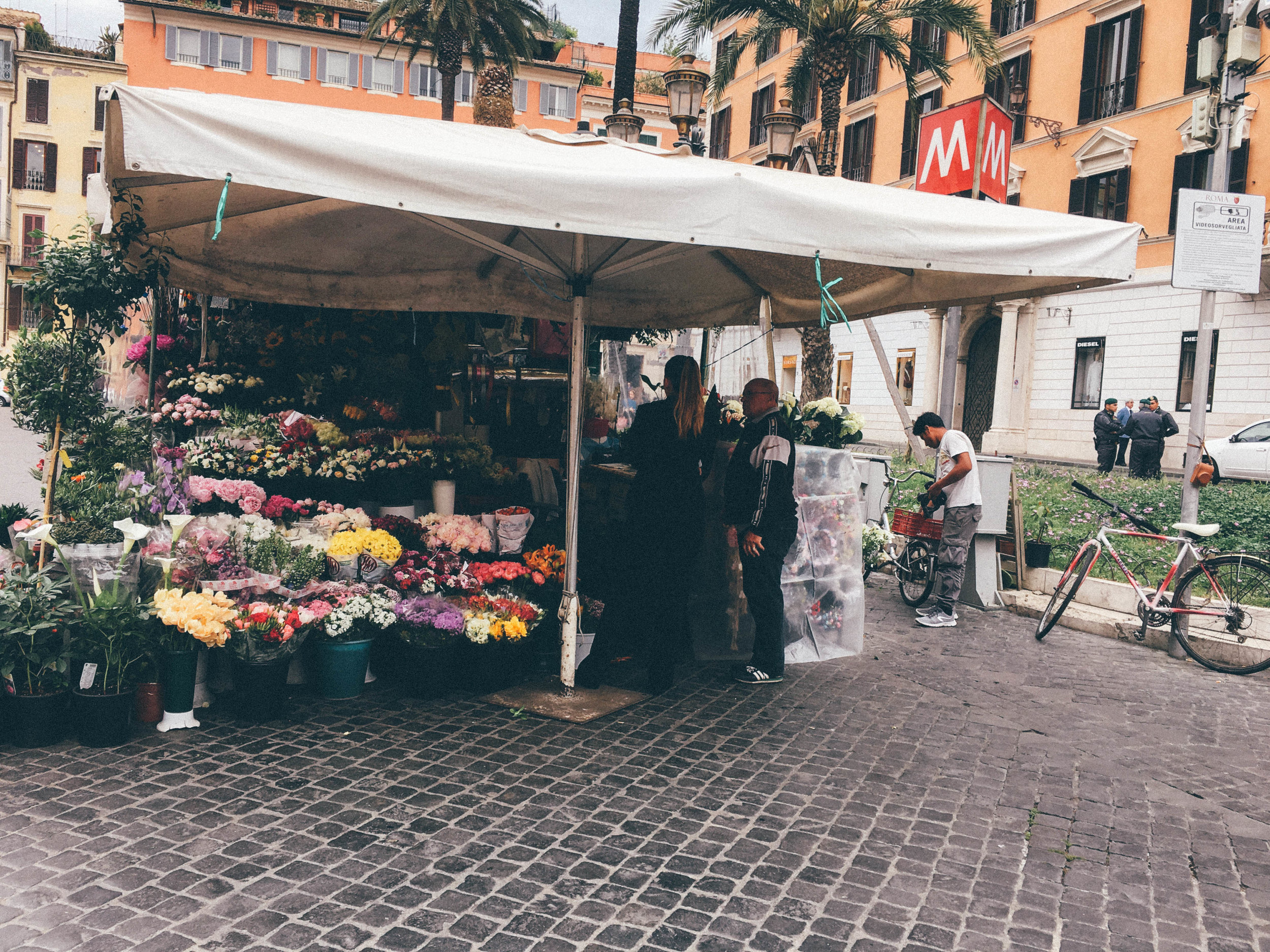 A flower market near the spanish steps