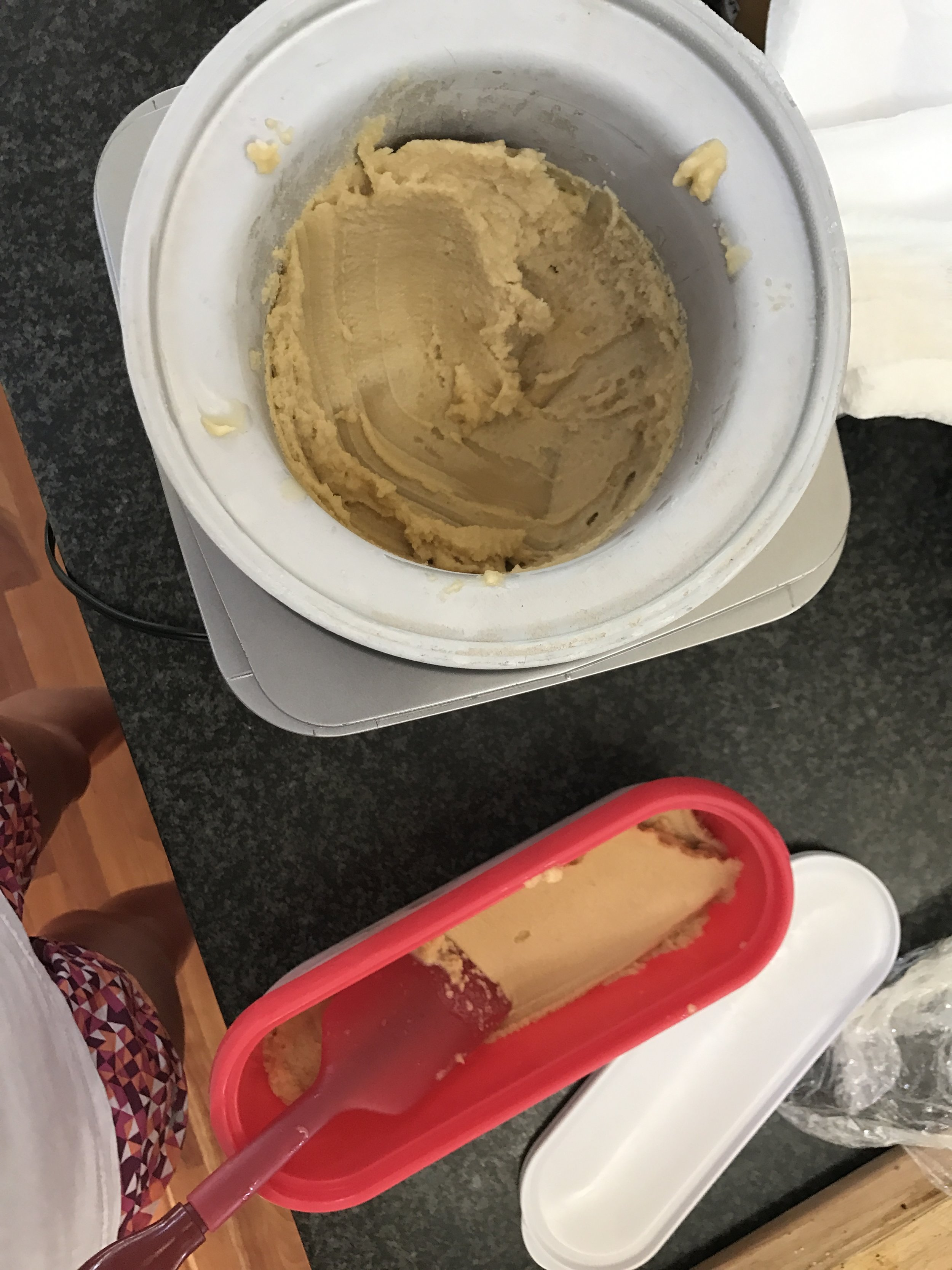 The next day... - Churn in the ice cream maker for 35 minutes and then freeze. Serve with more honey, strawberries, or even edible flowers!    '
