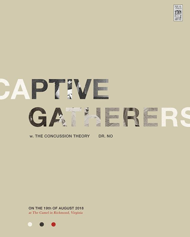 8-19-2018 || We're honored to be returning to @thecamelrva with @gatherersband (New Jersey, @equalvision ), our friends @theconcussiontheory and Dr. No. || Doors 8pm || $7 #rva #rvashows