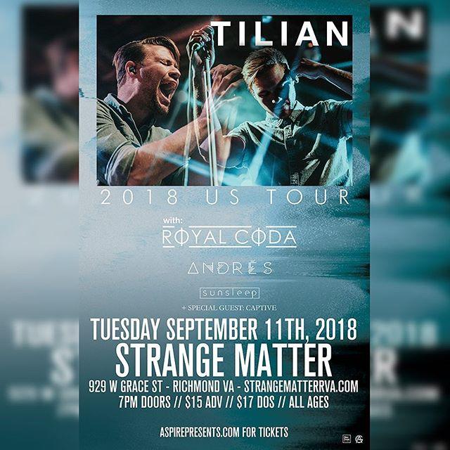 NEXT SHOW || 9/11/2018 @strangematterrva with @tilianpearson , @royal.coda , @andresamusica , and @sunsleepband || $15 in adv. Tickets are half gone! DM for presale