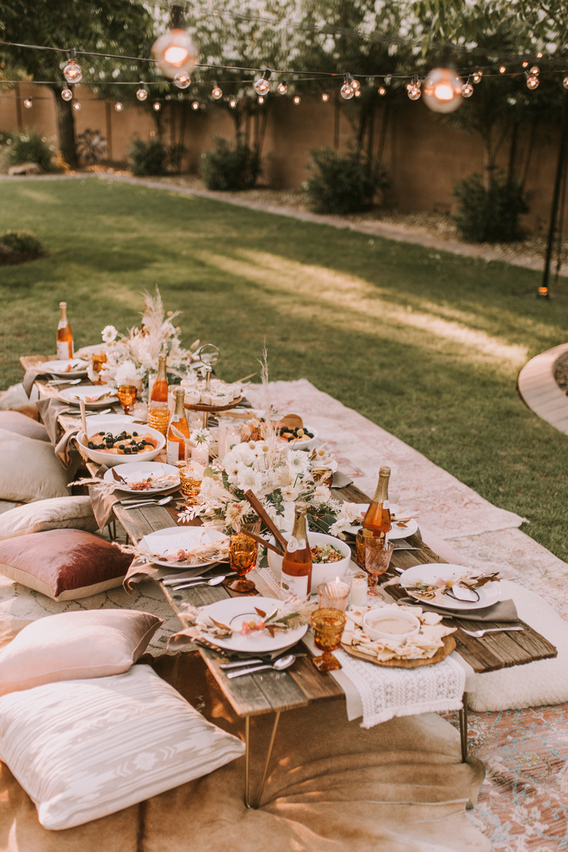 intimate boho dinner party