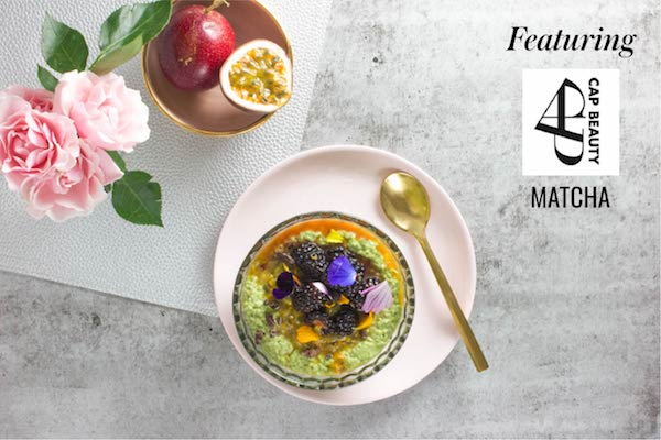 Matcha Chia Pudding with Passion Fruit and Cacao (VG)