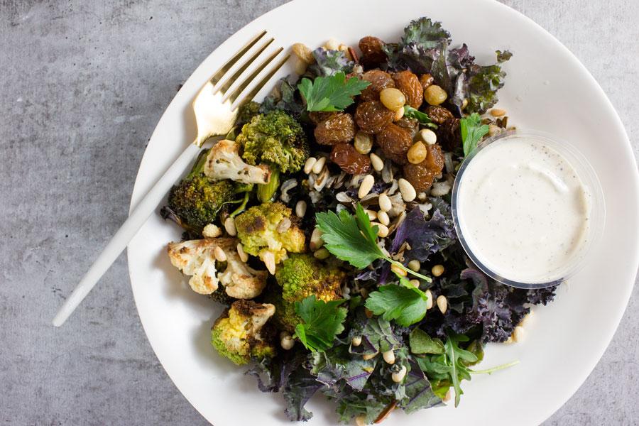 Brassica Bowl with Wild Rice, Golden Raisins, Tahini & Sumac (VG)