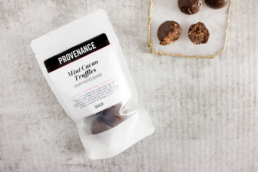 Snack: Mint Cacao Truffles with Crispy Puffed Quinoa