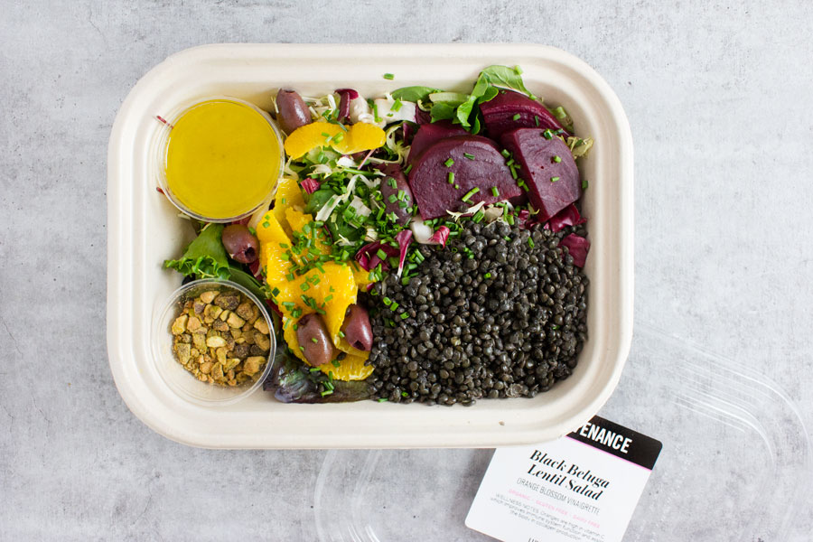 Lunch: Black Beluga Lentil Salad with Orange Blossom Vinaigrette