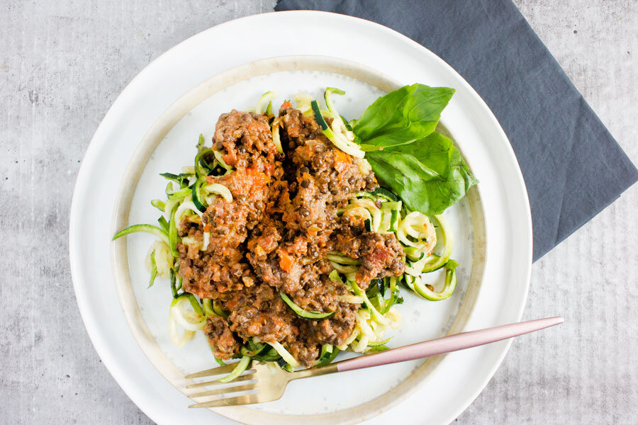 Dinner: Lentil Bolognese with Zucchini Noodles