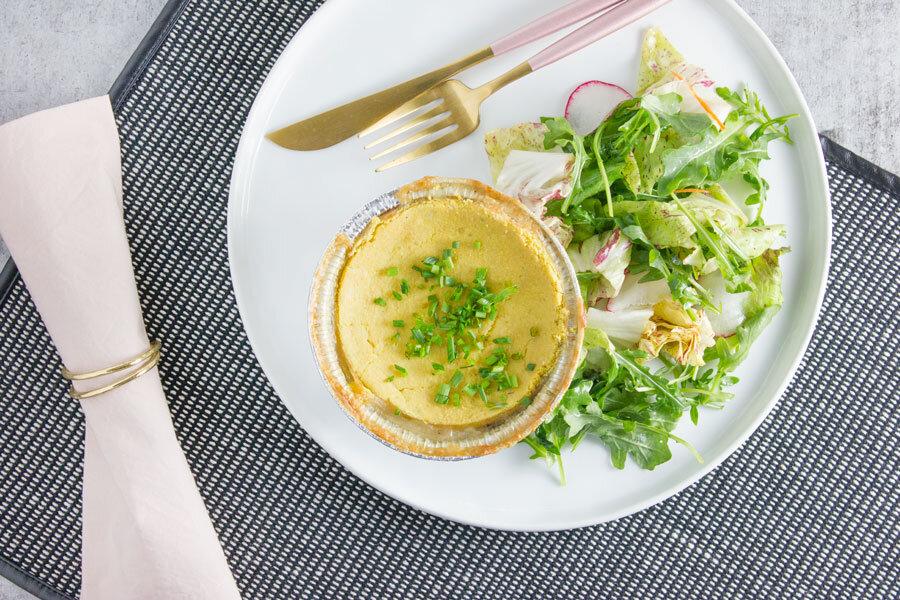 Dinner: Chicken Pot Pie with Cassava Crust and Market Greens