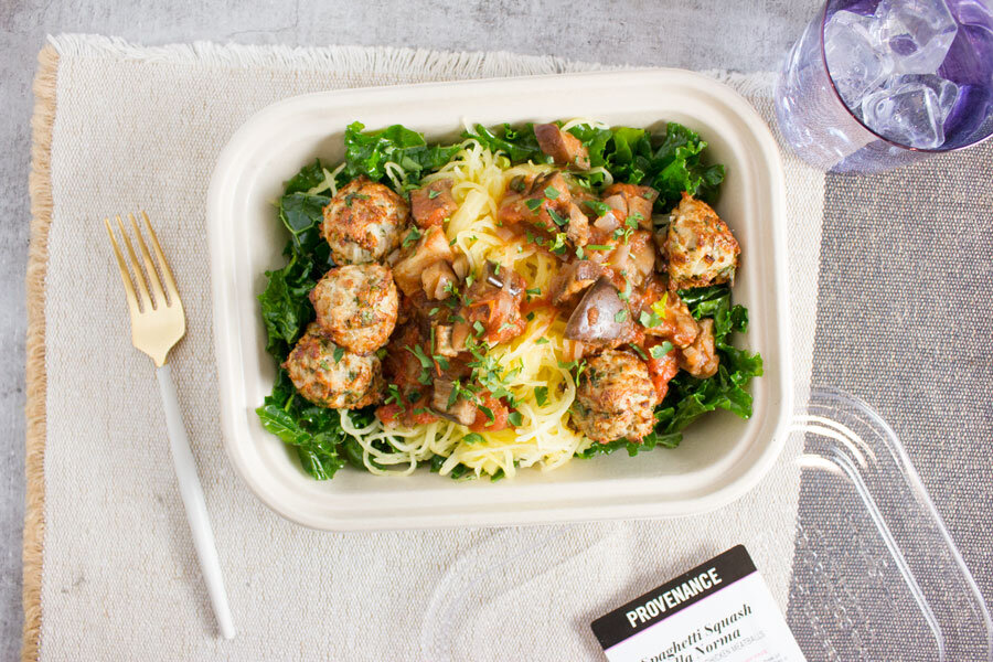 Dinner: Spaghetti Squash alla Norma with Chicken Meatballs