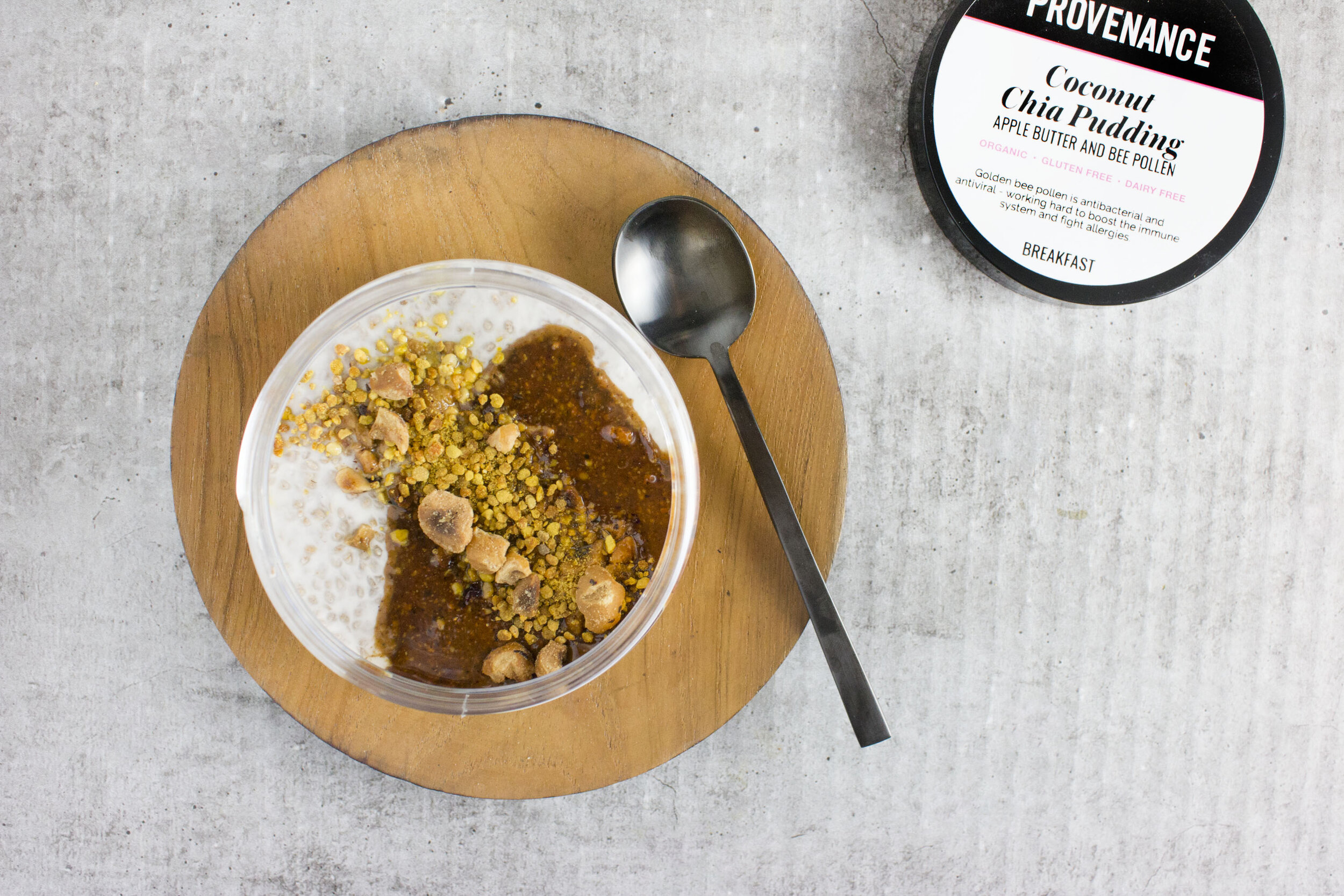 Breakfast: Coconut Chia Pudding with Apple Butter and Bee Pollen