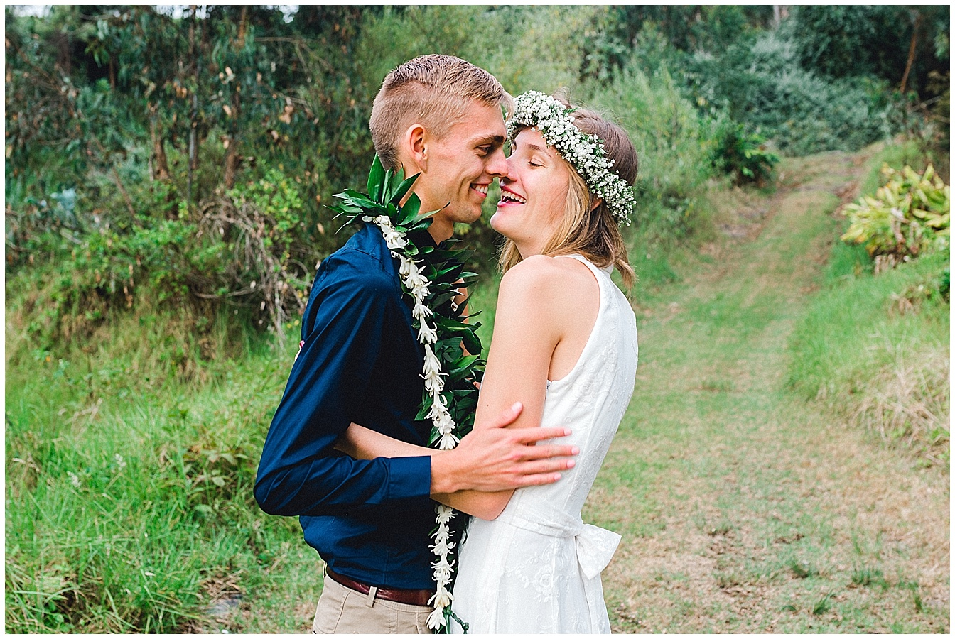 Maui bride and groom share a secret moment