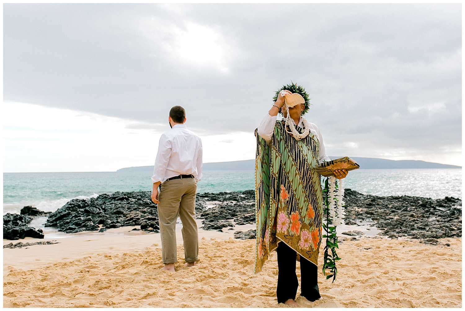 Blowing of the Pu during Hawaiian wedding ceremony
