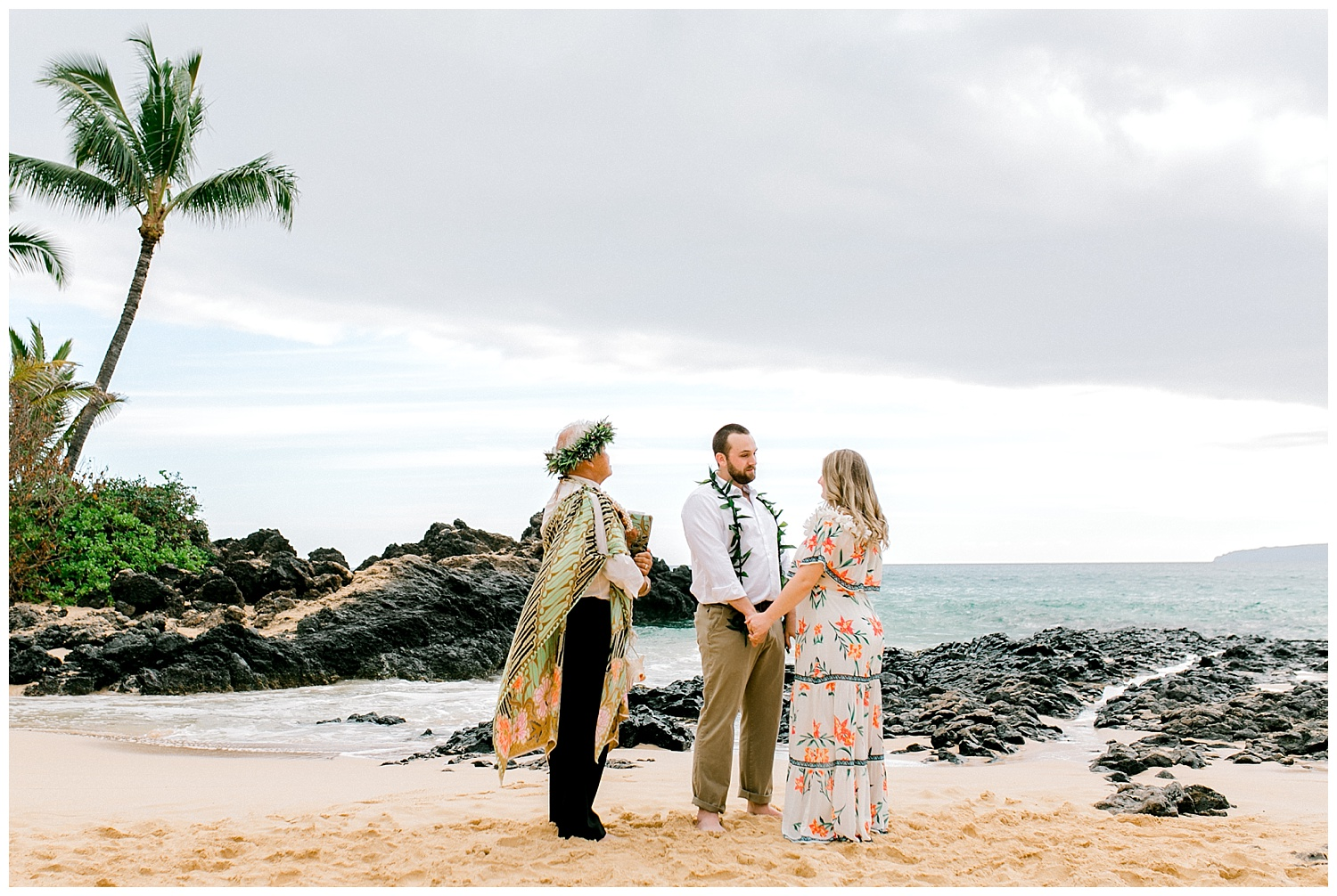 Bride and groom exchanging vows during Maui elopement ceremony