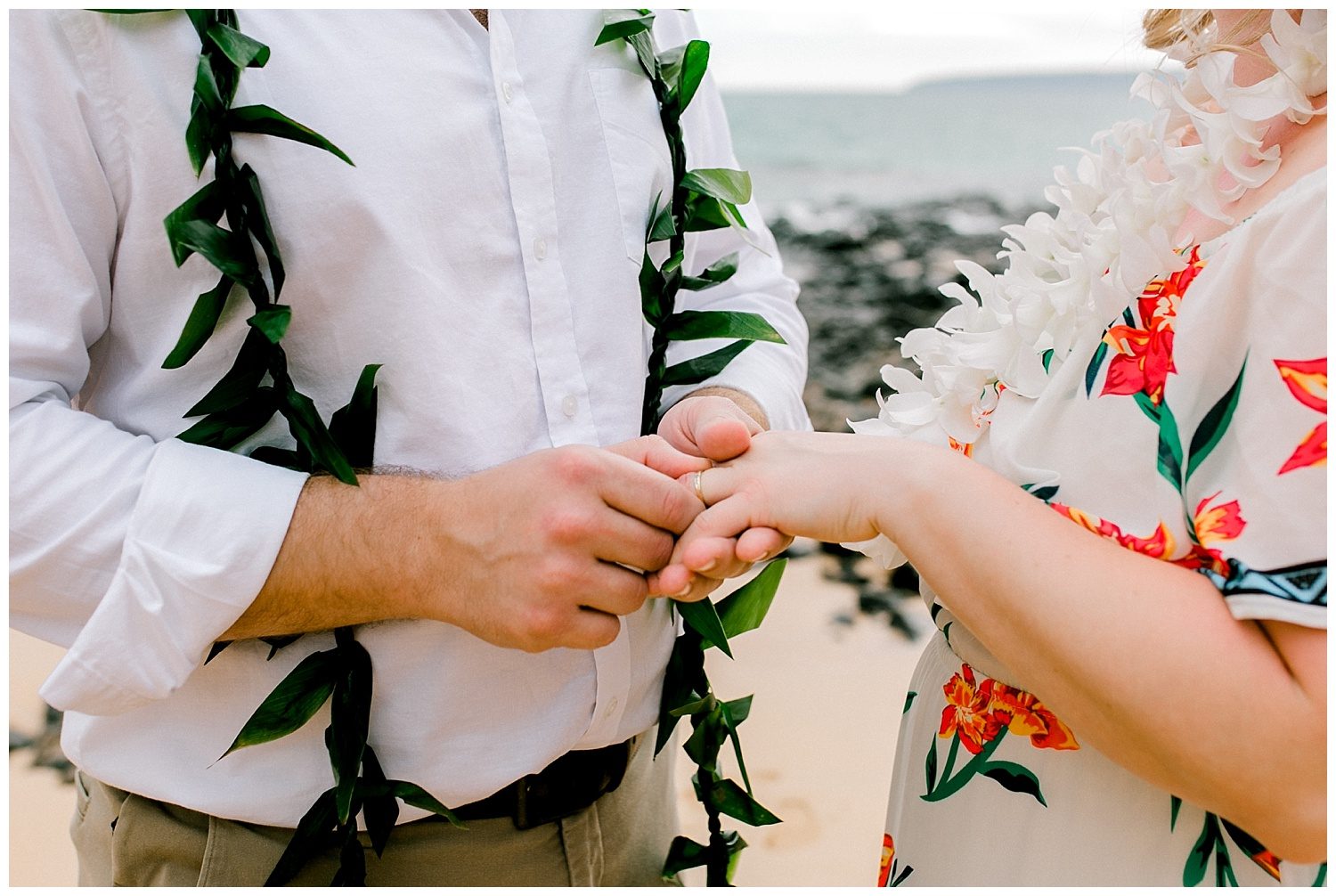 Groom exchanging ring with bride during Maui elopement