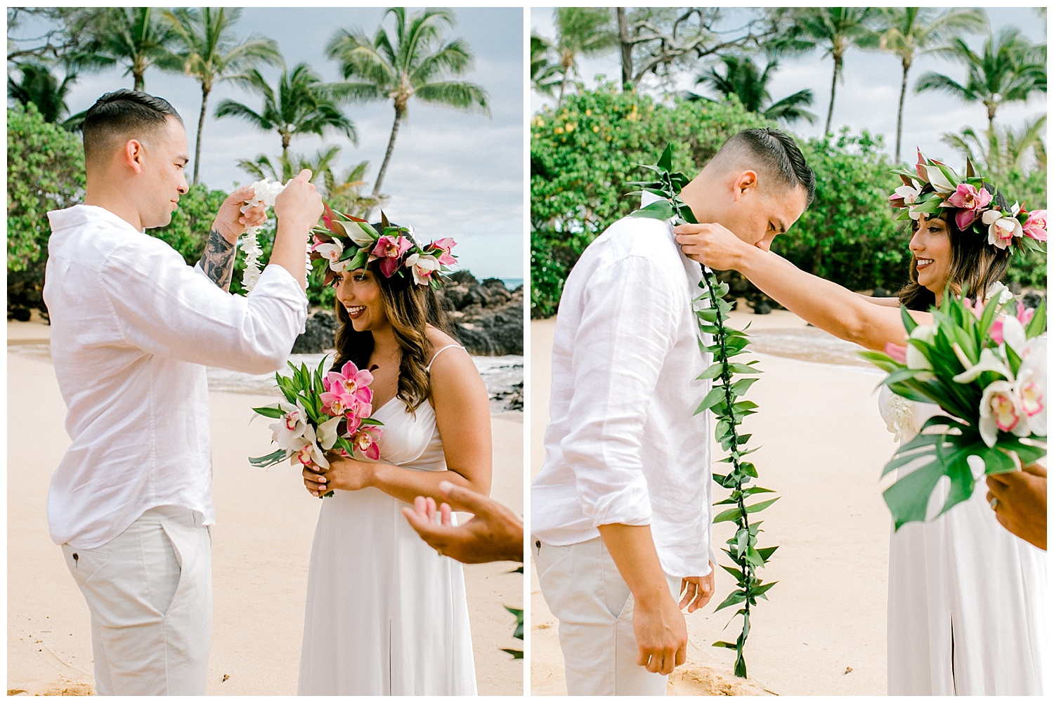 Bride and groom exchanging leis during Maui beach elopement
