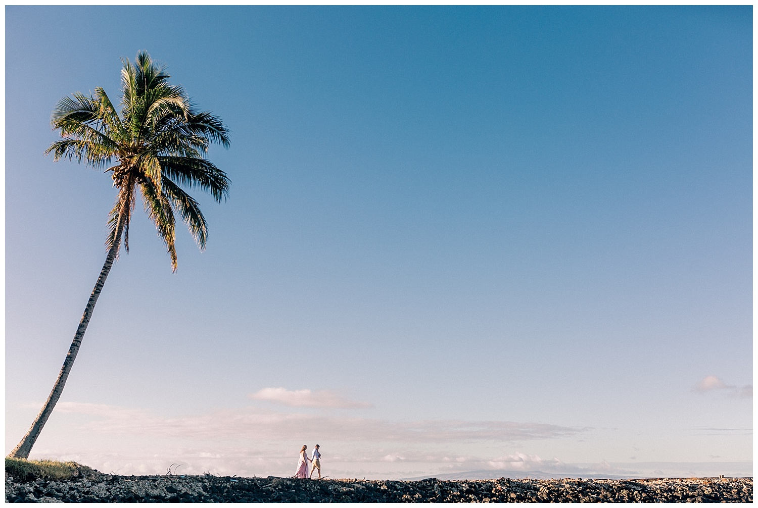 Family walking at Olowalu Landing, Maui with palm tree
