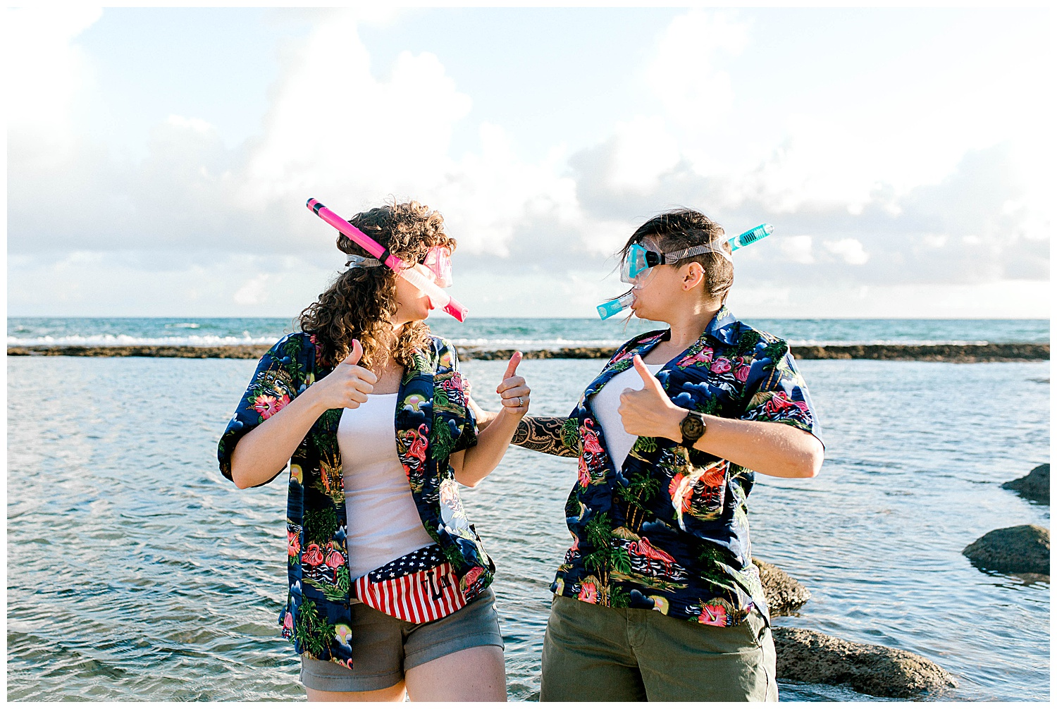 Couple in snorkel gear at Maui beach