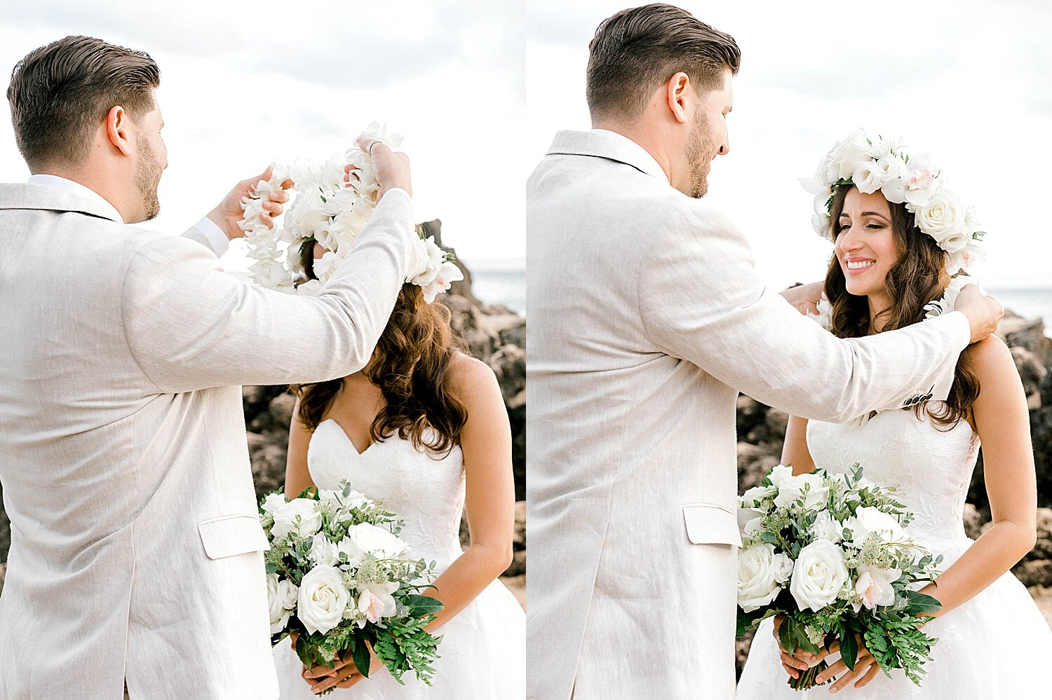 Groom placing the lei around the bride's neck during a wedding ceremony on a Maui beach