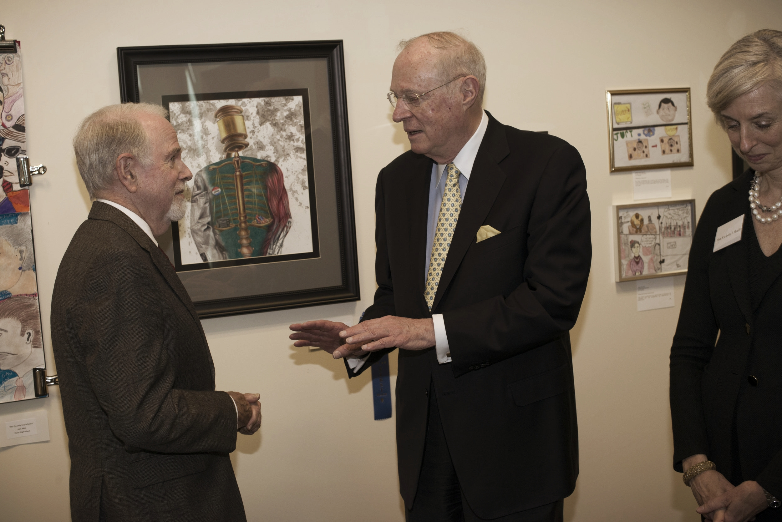 Justice Anthony M. Kennedy, the Hon. William B. Shubb and the Hon. Kimberly J. Mueller visiting the Learning Center.