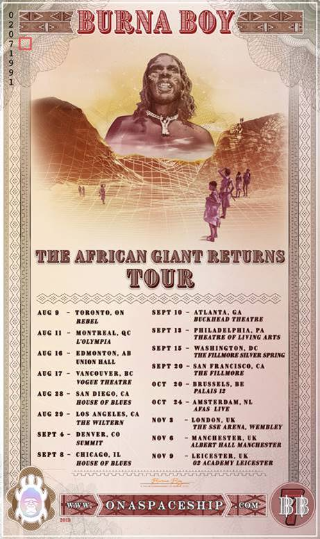 Burna Boy Tour