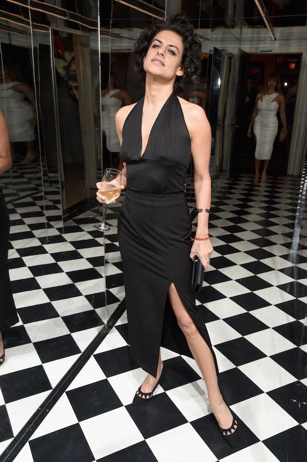 Elena Levon wore a glamorous black halter gown.