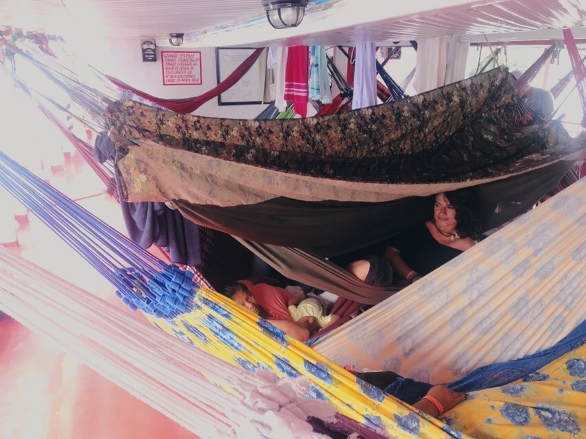 When you cross countries by boat in the Amazon or very long distances, sometimes you travel like that…